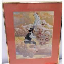 Framed Art: Clown Painting, Artist Signed, Robert Owen (Ltd. Ed. 42 of 150)