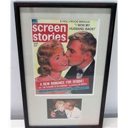 Framed Cover: Screen Stories, Debbie Reynolds & Tab Hunter (w/ Signed Letter from Allan Glaser to Ji