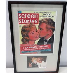 Framed Cover: Screen Stories, Debbie Reynolds & Tab Hunter (w/ Signed Letter from Allan Glaser to Ji