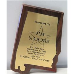 Jim Nabors Alabama Walk of Fame 1989 Induction Plaque