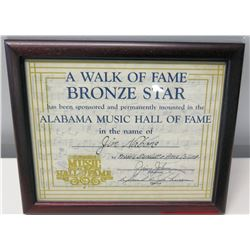 Framed Jim Nabors Alabama Music Hall of Fame Induction Certificate