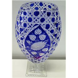 "Footed Cobalt Cut Crystal Vase 14"" Tall"