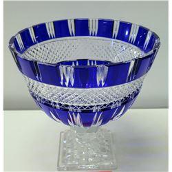 Stemmed Cobalt Cut Crystal Bowl