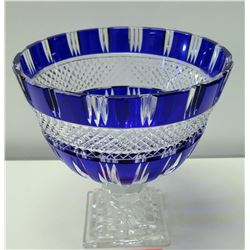 "Large Stemmed Cobalt Cut Crystal Bowl 10"" Tall"