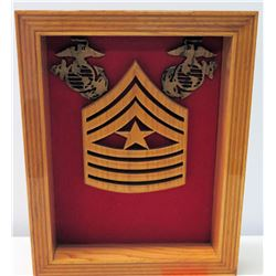 Wooden USMC Chevron & Star in Shadowbox Frame 18.5  x 15