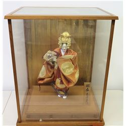 "Oriental Figure in Glass Display Case 20"" x 16""D x 25.5""H"