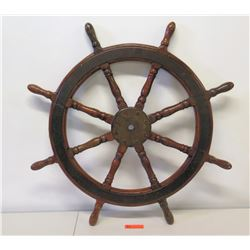 "Wooden Ship's Wheel 28.5"" Dia."