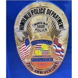 Honolulu Police Department 75th Anniversary Commemorative Badge Set in Lucite Block, 2007