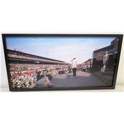 """Indianapolis Motor Speedway Stadium, Jim Nabors Singing National Anthem, Photo on Canvas, 33.5"""" x 17"""