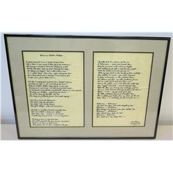 Framed Poem Written to Jim Nabors by Jodi Kilteen, 1982 (20  x 14.5 )