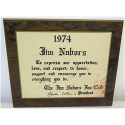 """The Jim Nabors Fan Club' Plaque, Signed, 1974 (12"""" x 10.5"""")"""