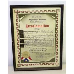 "Framed Proclamation of 'Jim Nabors Day' in Sylacauga Alabama, 17"" x 13"""