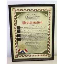 Framed Proclamation of 'Jim Nabors Day' in Sylacauga Alabama, 17  x 13