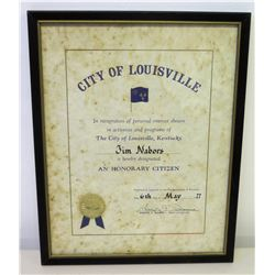 """Framed 'Honorary Citizen' Award to Jim Nabors from City of Louisville, 1977 (15"""" x 12"""")"""