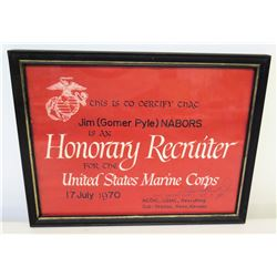 """Framed 'Honorary Recruiter' for USMC to Jim Nabors, 1970, Signed 11""""L x 9"""""""