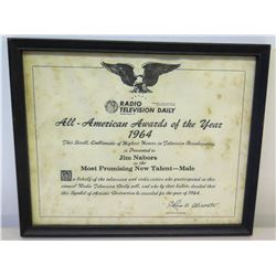 """Framed 'Most Promising New Talent' Award  to Jim Nabors, 1964, from Radio Television Daily 11"""" x 9"""""""