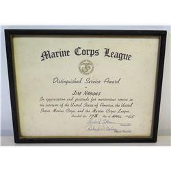 "Framed 'Distinguished Service Award' Marine Corps League 1965, Signed 12.5"" x 10"""