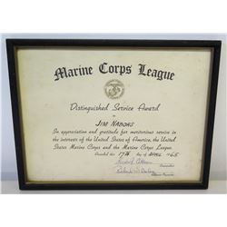 Framed 'Distinguished Service Award' Marine Corps League 1965, Signed 12.5  x 10