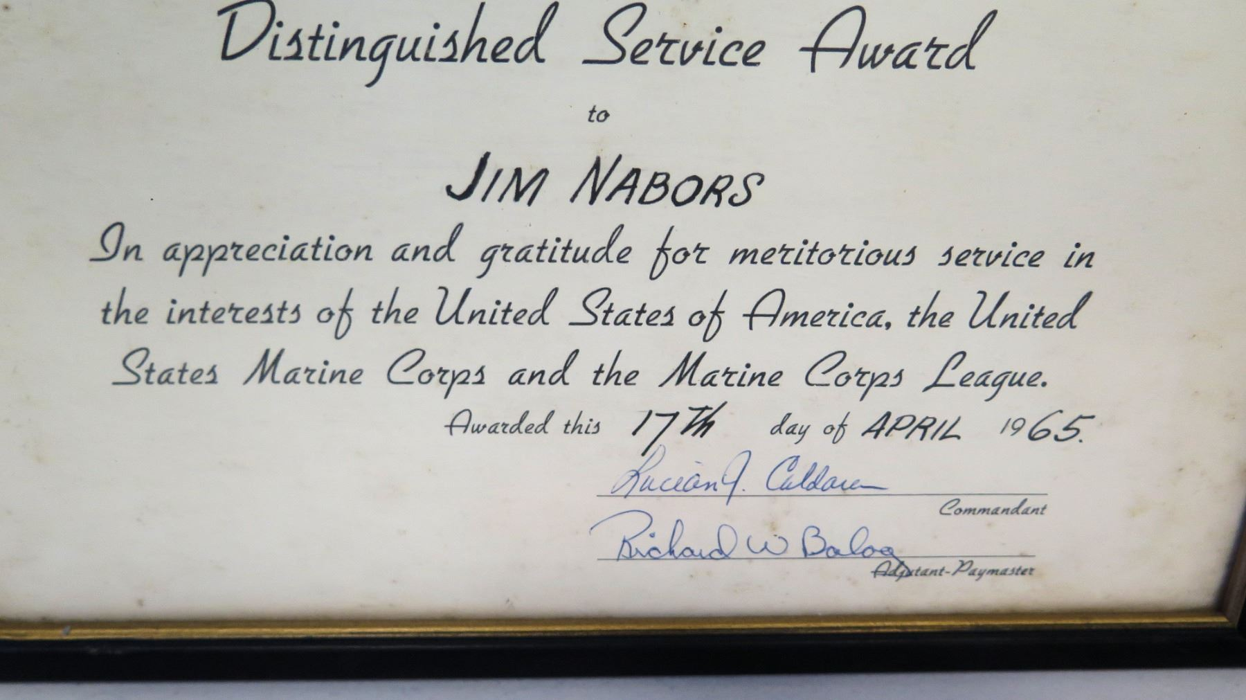 Framed 'Distinguished Service Award' Marine Corps League
