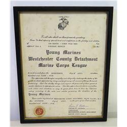 "Framed 'Honorary Recruit' Marine Corps League, 1965 Signed & Sealed 11.5"" x 9"""