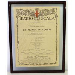"Framed La Scala (Italy Opera House), Autographed Playbill, 1975 (18"" x 14"")"