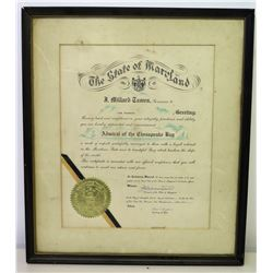 """Framed State of Maryland Jim Nabors 'Admiral of the Chesapeake Bay'  1965 Appointment 22"""" x 19.5"""""""