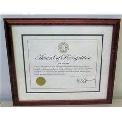 Framed 'American Patriot Award' to Jim Nabors from City & County of Honolulu 2009 (20  x 17 )