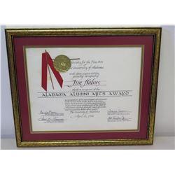 "Framed 'Alabama Alumni Arts Award' Presented to Jim Nabors, 1965 Designated First Recipient 18"" x 15"