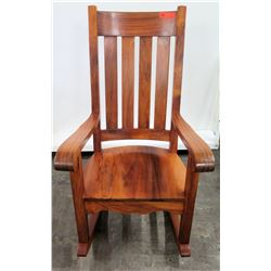 """Koa Wood Rocking Chair w/ Scroll Armrests (by Les Rietfors) 45.5"""" Back Ht."""