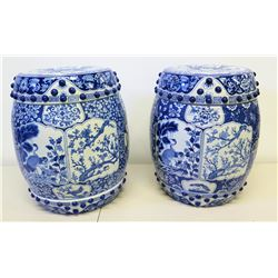Pair of Blue & White Porcelain Garden Stools, Thailand 18 H, 11.5  Top Dia.
