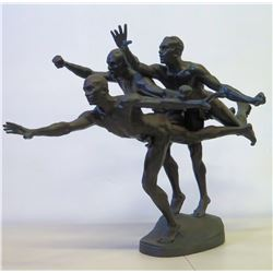 "Bronze Sculpture of Three Runners by A. Boucher, Approx. 27"" H"
