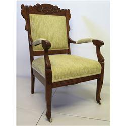 """Upholstered Wood Armchair w/ Carved Backrest, 38"""" Back Ht."""