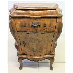 "Antique Single-Door Bombe Cabinet w/ Top Drawer 25.5"" x 17.5"" x 30""H"