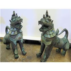 """Pair of Fu Dogs w/ Inlaid Accents, Approx. 32"""" Tall"""