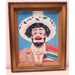 Framed Embellished Giclee on Canvas, 'Amigo' by Red Skelton, Signature on Back, 1984 (19x22.5)