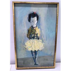 "Framed Original Painting on Canvas, Ballerina, Artist John Young, Signed 22.5"" x 14.5"""