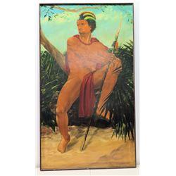 "39"" x 68"" Framed Giclee Canvas, Ancient Hawaiian Warrior Chief, Signed, Artist Joseph Baier? 1977"