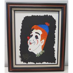 "Framed Clown Art from Carolyn Berry to Jim Nabors 22.5"" x 21.5"""