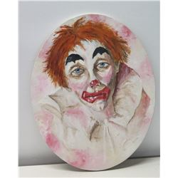 Painting of Clown, Oval Stretched Canvas, Signed by Artist (signature obscure)