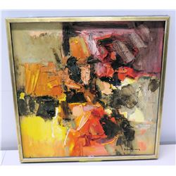 "Framed Original Abstract Painting on Canvas, Artist John Young, Signed 19"" x 19"""