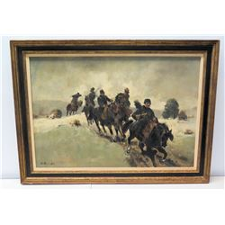 "Framed Original Painting, The Cavalry, Artist G. Rastroft, Signed 46"" x 34"""