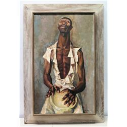 Framed Original Painting on Canvas, Man with Drum, Artist Francis De Erdely, Signed