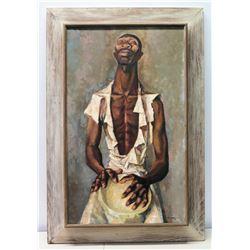 Framed Original Painting on Canvas, Man with Drum, Artist Francis De Erdely, Signed  (frame size 49x