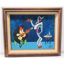 "Original Signed Painting by Xavier Cugat, Presented to Jim Nabors by Charo, 1973 (39.5"" x 33.5"")"