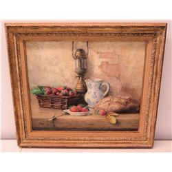 Framed Original Painting, Still Life with Strawberries & Bread, Signed by Artist
