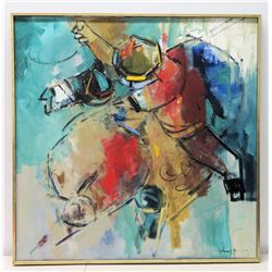Framed Original Abstract Painting, Artist John Young, Signed