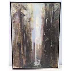 Original Painting, Dark/Light Abstract by Artist Gaggete (artist bio on back of canvas)