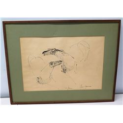 """Framed Abstract Drawing Signed by Artist, 30"""" x 23"""""""