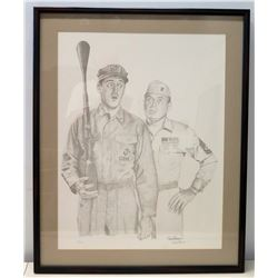 "Framed Black & White Drawing, Gomer Pyle, 1 of 425, Artist Signed 25"" x 31"""