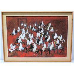 Original Painting, 'Moroccan Horseman', Artist Hassan El Glaoui, Signed